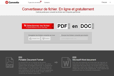 Convertio — Convertisseur de fichier. En ligne et gratuitement | Internet software app tools and other | Scoop.it