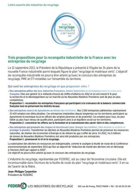 Lettre ouverte des industries du recyclage | Federec | Actualités FEDEREC | Scoop.it
