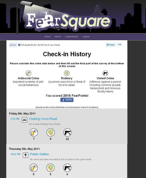 Foursquare + crime = Fearsquare | Technophile | Scoop.it