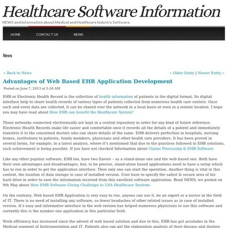 Advantages of Web Based EHR Application Development | Tranforming Healthcare Through Technology | Scoop.it