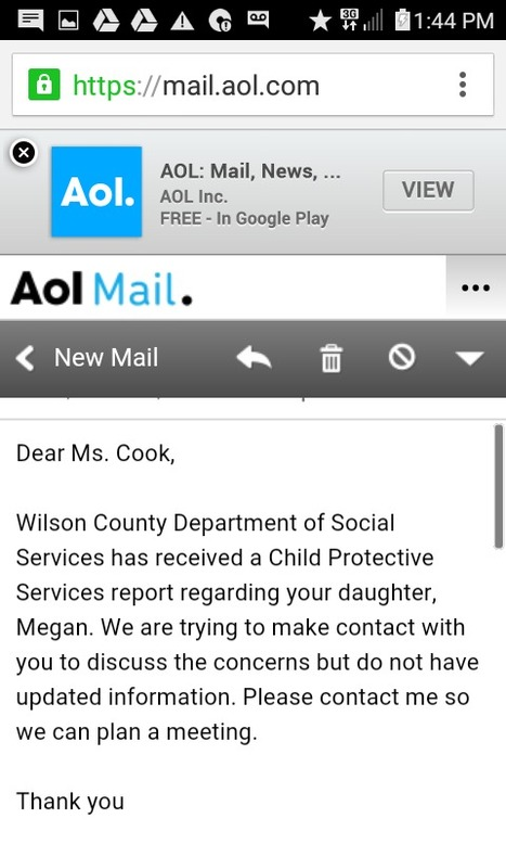 Email from Wilson County DSS CPS MSW Mandy Harris about concern reported which was Education per SW when contacted by DC | COMING CLEAN IS A DIRTY BUSINESS BUT WE ALL HAVE TO TAKE A BATH SOMETIME, BUT WHAT IS CHOSEN TO BE USED AS CLENSER WILL DETERMINE THE CLEANSING RESULTS! IF YOU DONT LIKE YOUR RESULTS CHANGE  YOUR CLENSER TO GOD STYLE! | Scoop.it