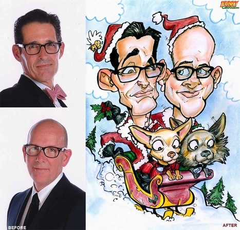 Our latest caricature 2 People With Pet Dogs Christmas Caricature | Custom Caricatures | Scoop.it
