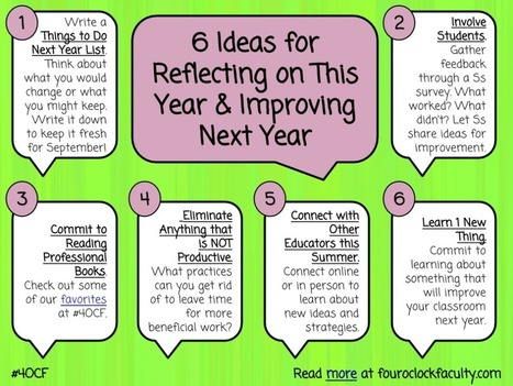 Ideas for Reflecting on This Year & Improving Next Year Four O'Clock Faculty #4OCF | Professional Learning for Busy Educators | Scoop.it