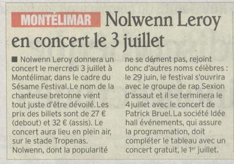 Le Sésame Festival accueille Nolwenn Leroy en concert le 3 juillet ! | Montélimar Agglo Festival 2014 | Scoop.it