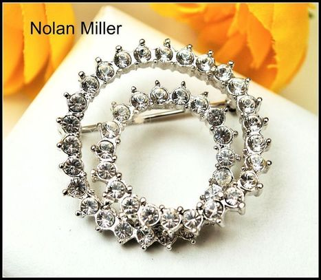 Nolan Miller Brilliant Clear Rhinestone Double Circle of Life Pin Brooch | serendipity treasures | Scoop.it