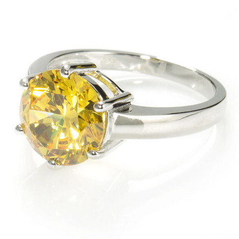 Fancy Yellow Solitaire Ring with 3.87 carat Brillianite. 925 Sterling Silver. Comfort Fit.   Jewelry Trends   Scoop.it