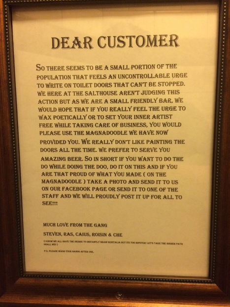 This Irish bar has a great solution to stop people doodling on their toilet doors | Ireland Travel | Scoop.it