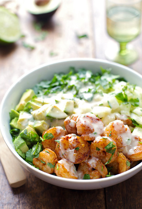#HealthyRecipe / Shrimp and Avocado Salad with Miso Dressing   The Man With The Golden Tongs Goes All Out On Health   Scoop.it