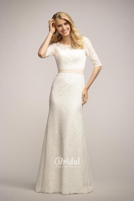 Boat Neck Ivory Lace Long Bridesmaid Dress with 3/4 Length Sleeves   Little White Bridesmaid Dresses 2014   Scoop.it