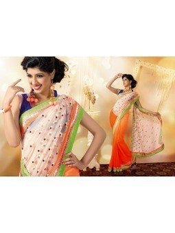 Buy Online Vikruti Peach And Cream Net Embroidered sarees 9808 | Online Suit Salwar Kameez |  Suit Price| Suit Sale | Apparel | Women Suit | Scoop.it