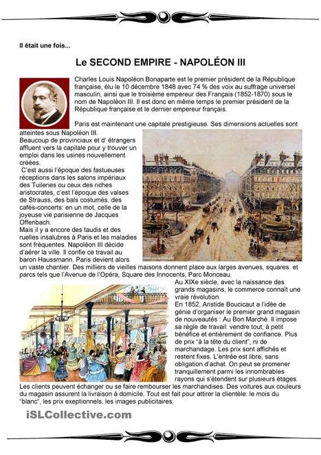 Il était une fois -Paris sous Napoléon III fiche d'exercices   fleenligne   Scoop.it