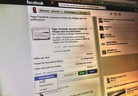 Pages Facebook: nouveaux critères de ciblages pour les publications | Facebook pour les entreprises | Scoop.it