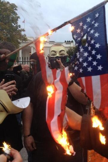 Twitter / apblake: Not my first flag burning, ... | Anonymous' MillionMaskMarch | Scoop.it
