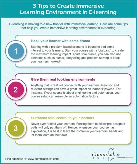 [Infographic] 3 tips to create Immersive Learning Environment in eLearning Courses | Linguagem Virtual | Scoop.it