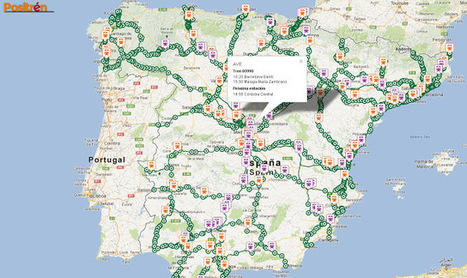 Geoinformación: Mapa de trenes de media y larga distancia de España, prácticamente en tiempo real en Google Maps | #GoogleMaps | Scoop.it