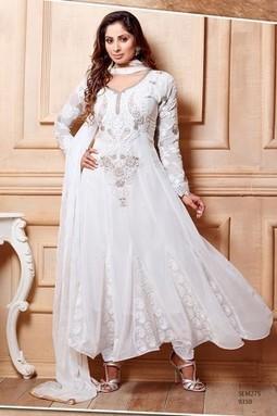 Sangeeta Ghosh Designer White Ankle Length Anarkali Suit - giftadi | Gifting Zone | Scoop.it
