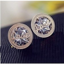 Fashion Clear Zircon Letter LOVE Gold Plated Stud Earrings SP06109 | fashion and cheap jewelry | Scoop.it