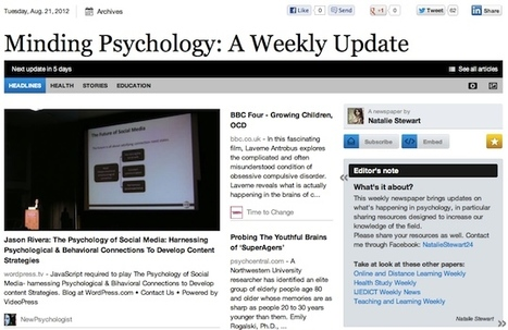 Aug 21 - Minding Psychology: A Weekly Update | Psychology Professionals | Scoop.it