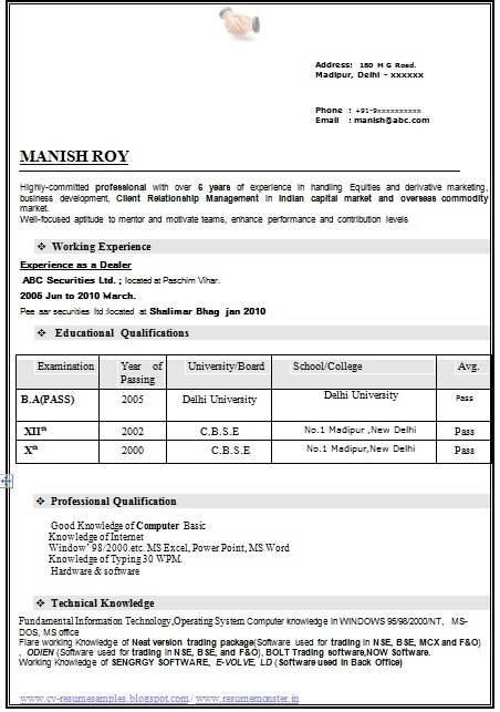 Resume Format Ba Student Experienced Resume For BA