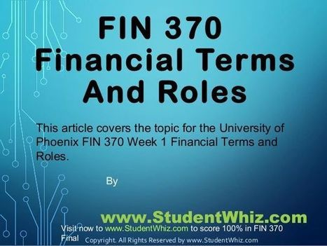 Pin by soanl shrama on Fabulous Contribution For FIn 370 week 1 | Pinterest | StudentWhiz | Scoop.it