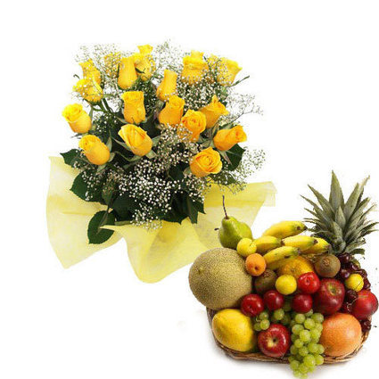 Fruits with bunch of yellow roses - Blossom Square | BlossomSquare online flowers delivery system | Scoop.it