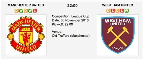 Man. United vs. West Ham: Match preview - 30/11/2016 EFL | Free betting tips on football,tennis,hockey & more | Scoop.it