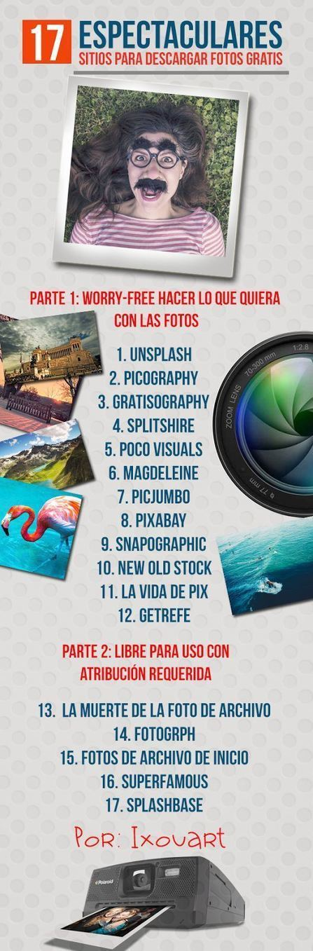17 espectaculares sitios para descargar Fotos Gratis #infografia #infographic #design | Marbella Ases Media | Scoop.it