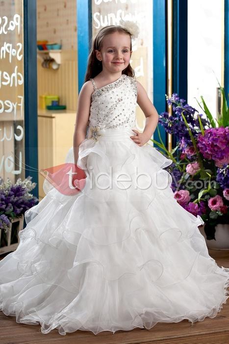 Elegant Ball Gown Floor-Length Tiered & Beaded Flower Girl Dress | wedding | Scoop.it