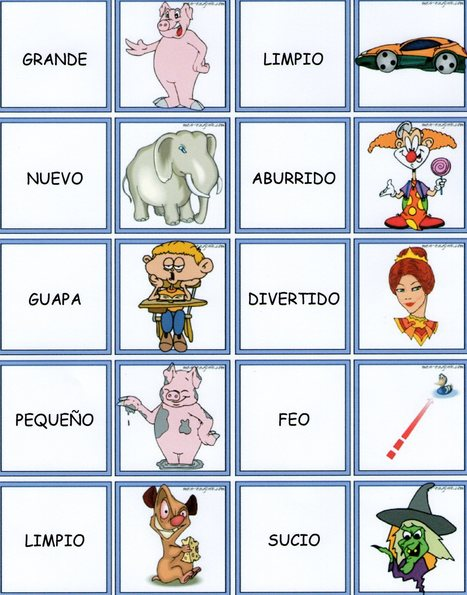¡Adjetivos jugando al dominó! (Ficha I)   Teaching Spanish   Scoop.it