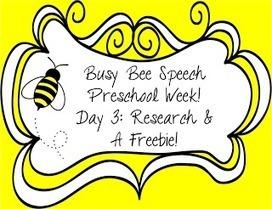 Busy Bee Speech: Preschool Week Day 3: Research & A Freebie! | Single mothers | Scoop.it