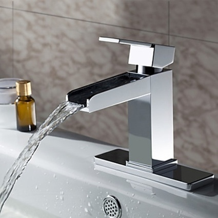 Chrome Finish Solid Brass Contemporary Waterfall Bathroom Sink Faucet - Faucetsmall.com | Bathroom Sink Faucets or Kitchen Faucets | Scoop.it