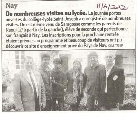 Collège-Lycée saint Joseph Nay » Revue de presse » La Journée Portes Ouvertes sur la presse   St Jo   Scoop.it
