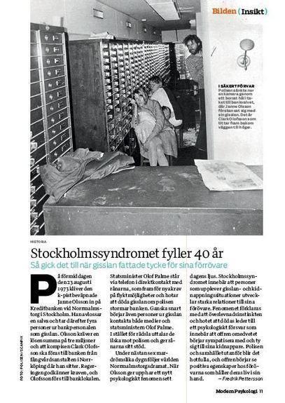 Stockholmssyndromet fyller 40 år | GiP Psykologi | Scoop.it