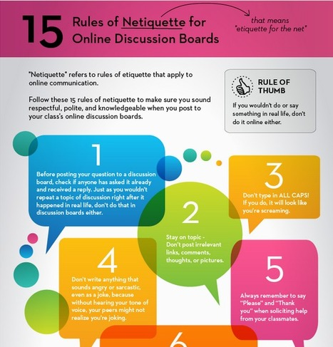 15 Rules of Netiquette for Online Discussion Boards | School Libraries and more | Scoop.it