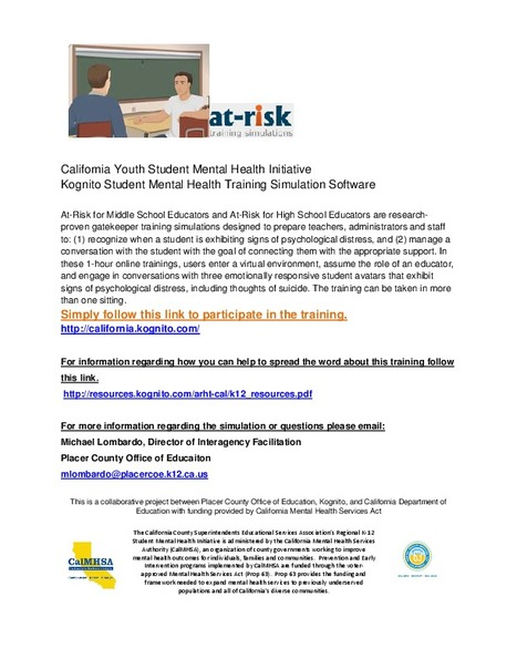 Webinar Registration Link (Nov. 14th 1-2pm PST): Online Student Suicide Prevention Training Initiative for all California Middle and High School Personnel   Santa Clara County Events and Resources to Support Youth Development   Scoop.it