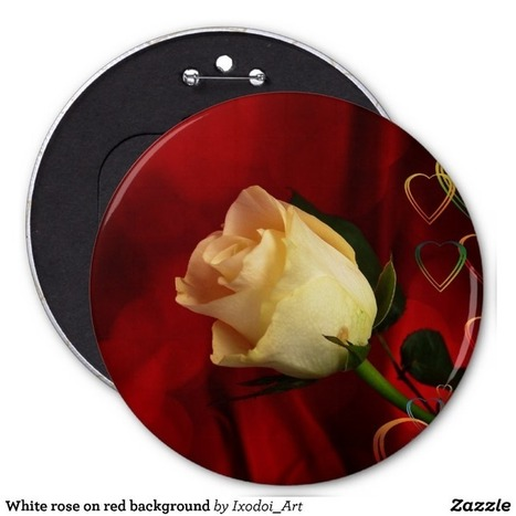 White rose on red background button from Zazzle.com | Unique and Customizable Gifts | Scoop.it