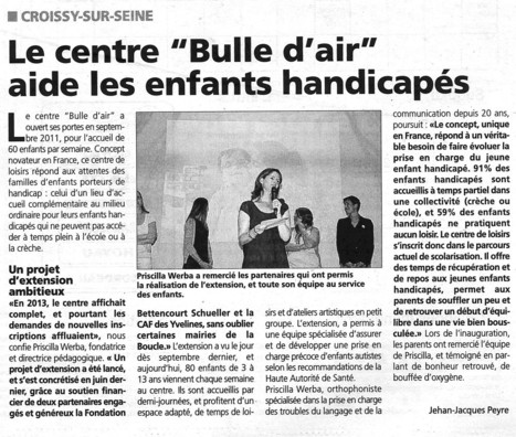 Le centre Bulle d'Air s'agrandit pour offrir plus aux enfants handicapés | Croissy sur Seine | Scoop.it