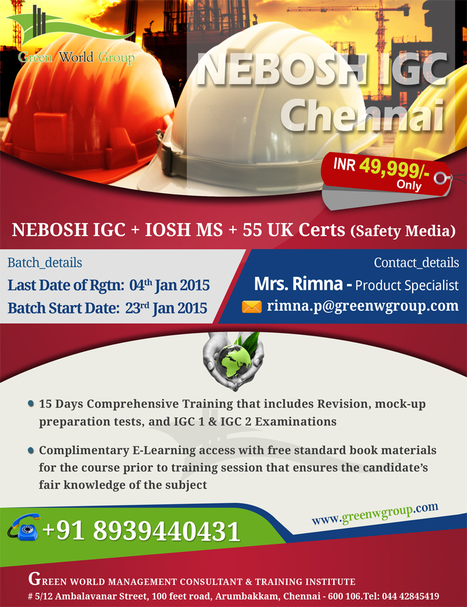 New Year offer for Nebosh IGC in Chennai at 49,999/-INR & Get with free certifications | Nebosh Course Cochin | Scoop.it