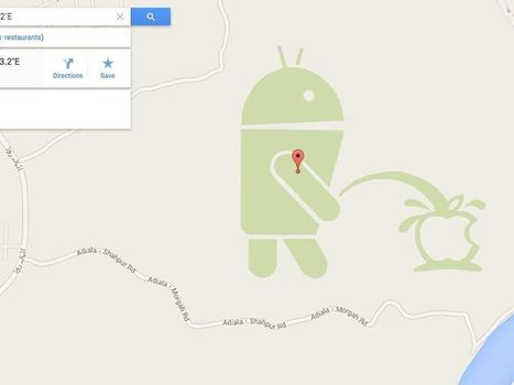 Yes, there really is a giant Android robot urinating on the Apple logo in Google Maps | Technoculture | Scoop.it
