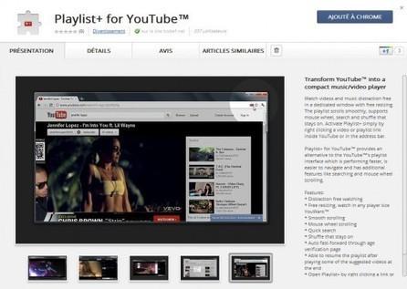 Regarder les vidéos YouTube dans une fenêtre séparée, Playlist+