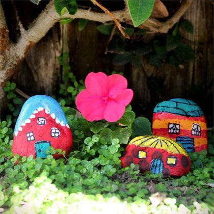 Painted rocks as gnome homes - Kids in the garden! | Young Adult & Reference Librarians | Scoop.it