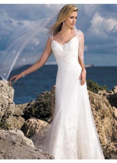 Beach Graceful Straps Sheath/Column Tulle Bridal Wedding Dress under 200 | Fashion Dresses | Scoop.it
