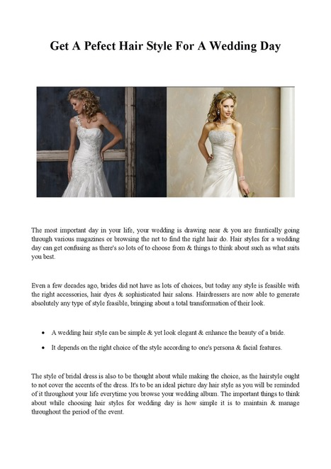 Get A Pefect Hair Style For A Wedding Day | Hair4Brides | Scoop.it