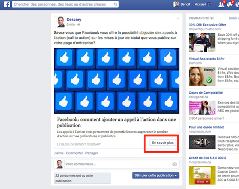 Facebook: comment ajouter un appel à l'action dans une publication | Be Marketing 3.0 | Scoop.it