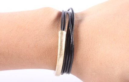 Black with Gold Leather Wrap Around Bracelet One Size Fits All   Fashion Jewelry Online   Scoop.it