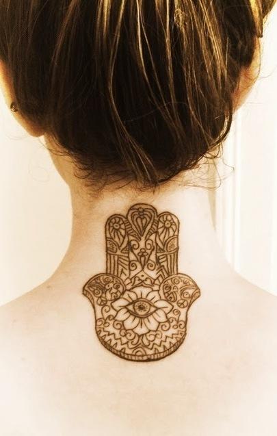 Hamsa Hand on Neck Tattoo for female | Female tattoo | Scoop.it