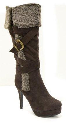 Twisted Women's Ava Knee High Hidden Hidden Platform Stiletto Heel Zip Up Boots with Faux Fur Trim and Buckle Details - Black   Wedding Shoes   Scoop.it