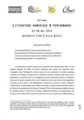 #Call - Appel à communications - Colloque «Littérature numérique & Performance» - deadline 31.12.14