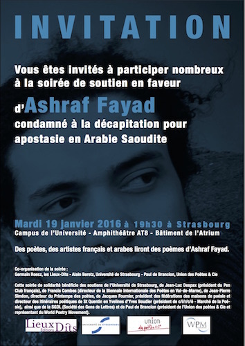 Mardi 19 janvier 2016 :: soirée de soutien en faveur du poète Ashraf Fayad (Strasbourg)   TdF      Culture & Société   Scoop.it