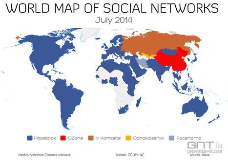Carte mondiale des réseaux sociaux dominants en Juillet 2014 | Social Media | Scoop.it